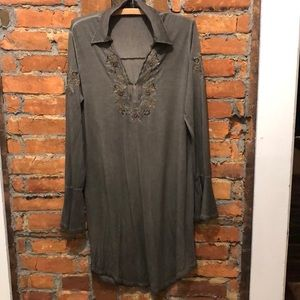Long Olive Green soft bell sleeve Top